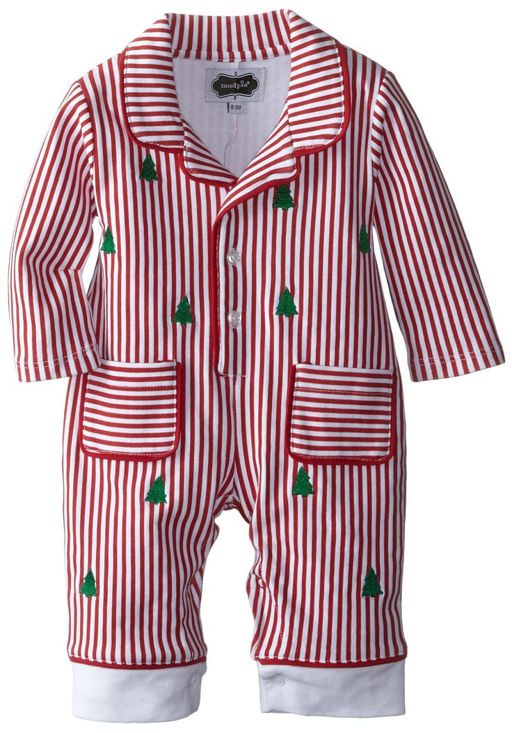 Love, love, love! So classy.   Mud Pie Baby-Boys Newborn Night Before Christmas Pajama, Red, 6-9 Months