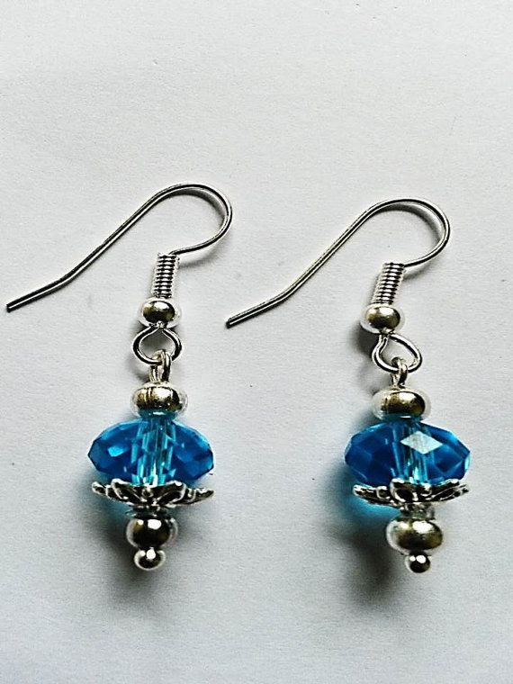 Turquoise Swarovski Crystal Drop Earrings - £15.00