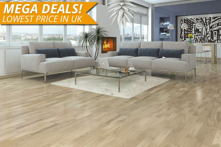 Mega Deal Engineered European Oak Flooring White Multi