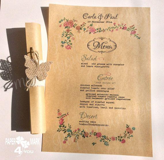 Rustic Menu_ Kraft Wedding Scroll Menu with by PaperMark4You