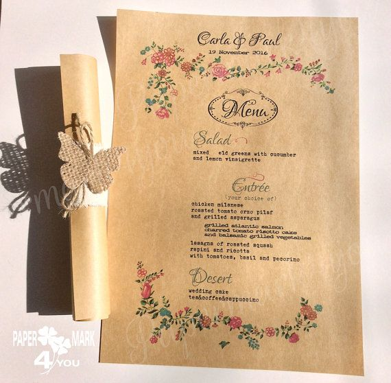 Rustic Menu_ Kraft Wedding Scroll Menu with by PaperMark4You