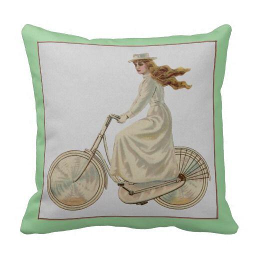 Vintage Bicycle Girl Pillow | Zazzle.com