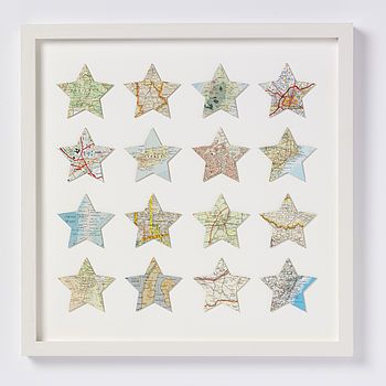 Sixteen Map Star Location Wedding And Anniversary Print