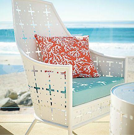 Grandin Road White Mid Century Metal Outdoor Furniture Seating