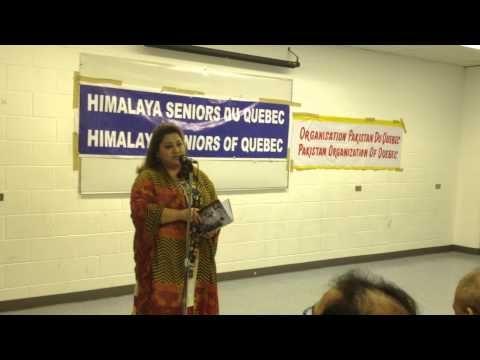 Tabassum reciting Urdu poems at the Mushaira at Parc-Ex