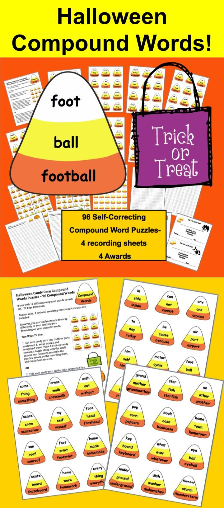 Halloween Activities for Kids, Halloween Language Arts, Halloween Candy Corn Compound Word Puzzles