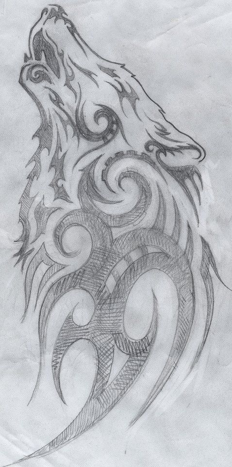 -Elaine Proffitt original,Tribal howling wolf drawing, © 2011 Cuestix International #celtic #tattoos