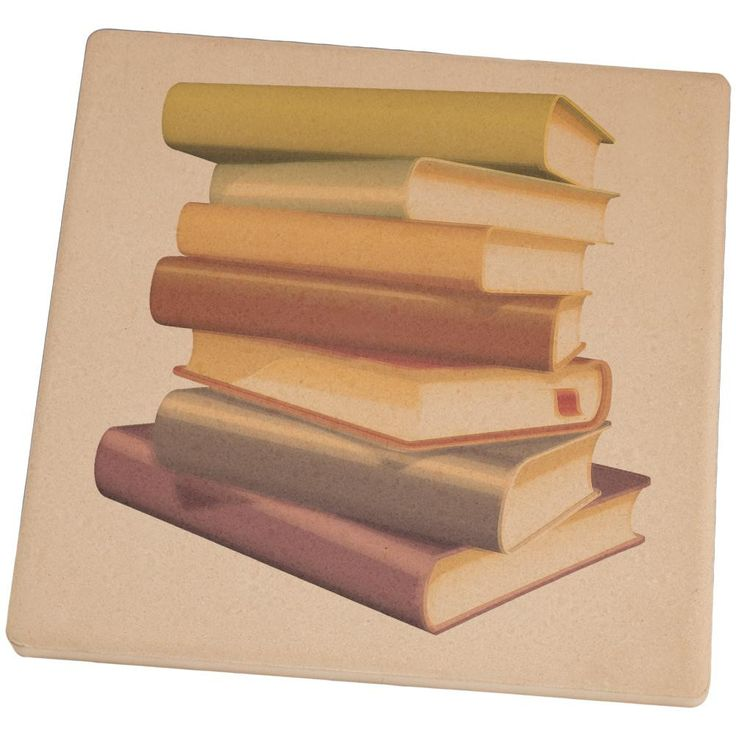 Book Collector Stack Square Sandstone Coaster