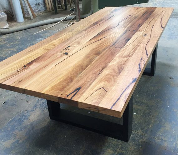Melbourne recycled timber table with modern box legs custom