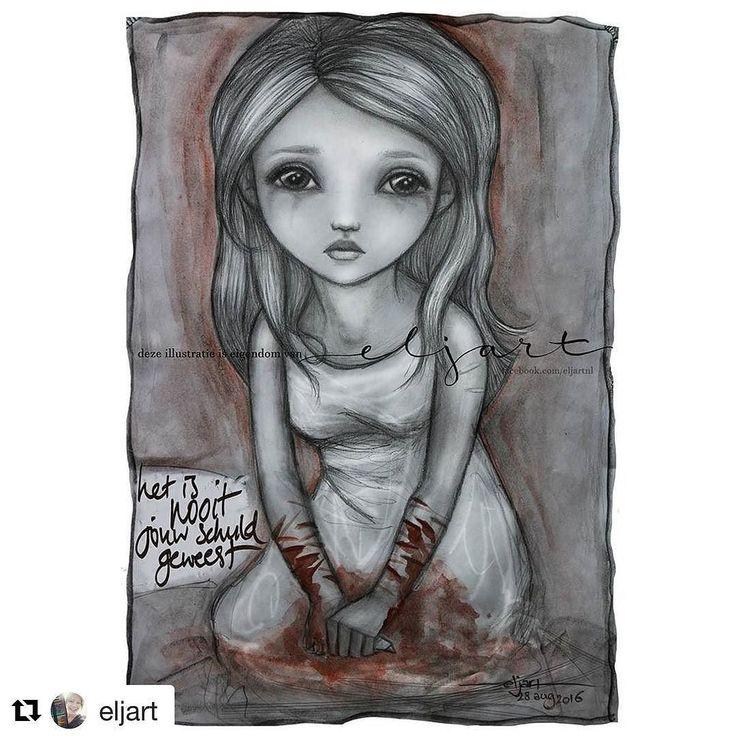 Geweldige @eljart maakte deze tekening. Wat ik graag met taal doe kan zij met kunst. Wauw. Past ook bij de kaart 'strepen'. Hopelijk komt er ooit een samenwerking. Volg je haar indrukwekkende werk al (check haar Facebook)? #woordkunsten #eljart #automutilatie
