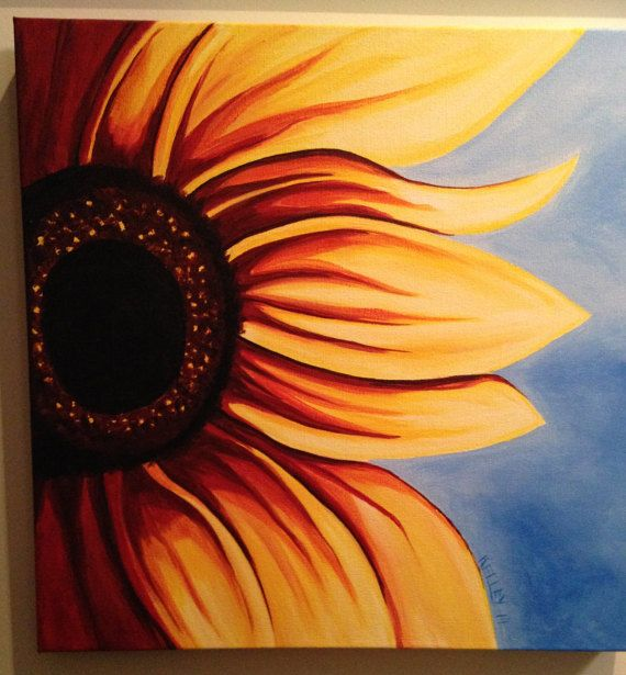Bathing Beauty by PaintingsbyKelley on Etsy Sunflower canvas acrylic hand painted art yellow