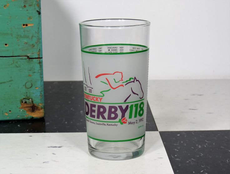 "1992 Kentucky Derby Mint Julep Glass . Churchhill Downs Triple Crown Winner ""Lil E. Tee"" . Official Harry M. Stevens by 13thStreetEmporium on Etsy"