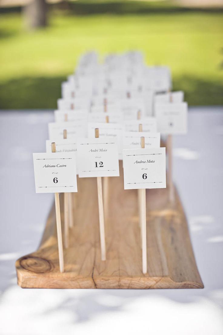 escort cards on wood dowels