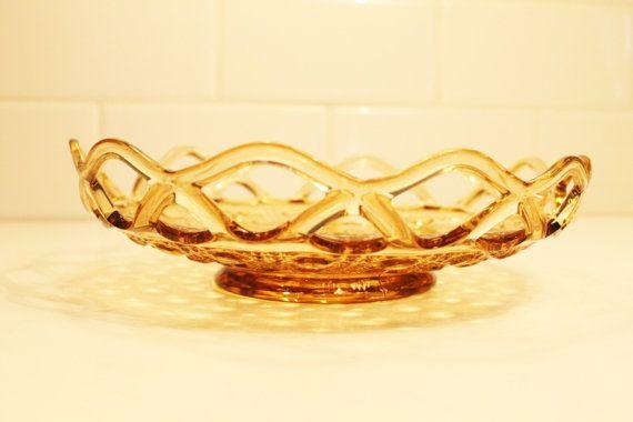 Amber Glass Bowl Candy Dish Trinket Dish by ClockworkRummage