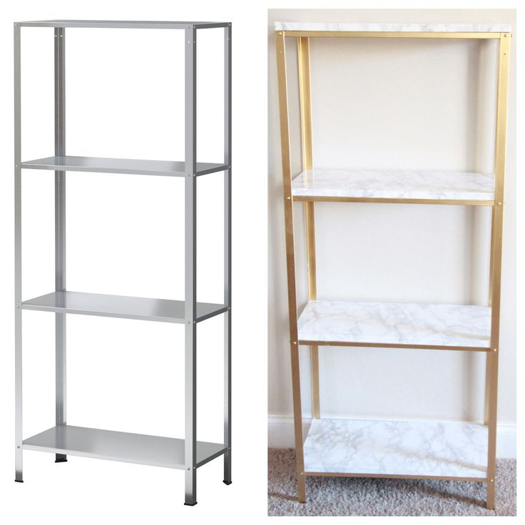 The Easiest Diy Hack To Glam Your 14 99 Ikea Hyllis Shelf Unit Into Marble And Gold