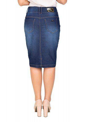 447996b837 Saia Midi Tradicional Jeans Com Prega Frontal Dyork (DK4177)