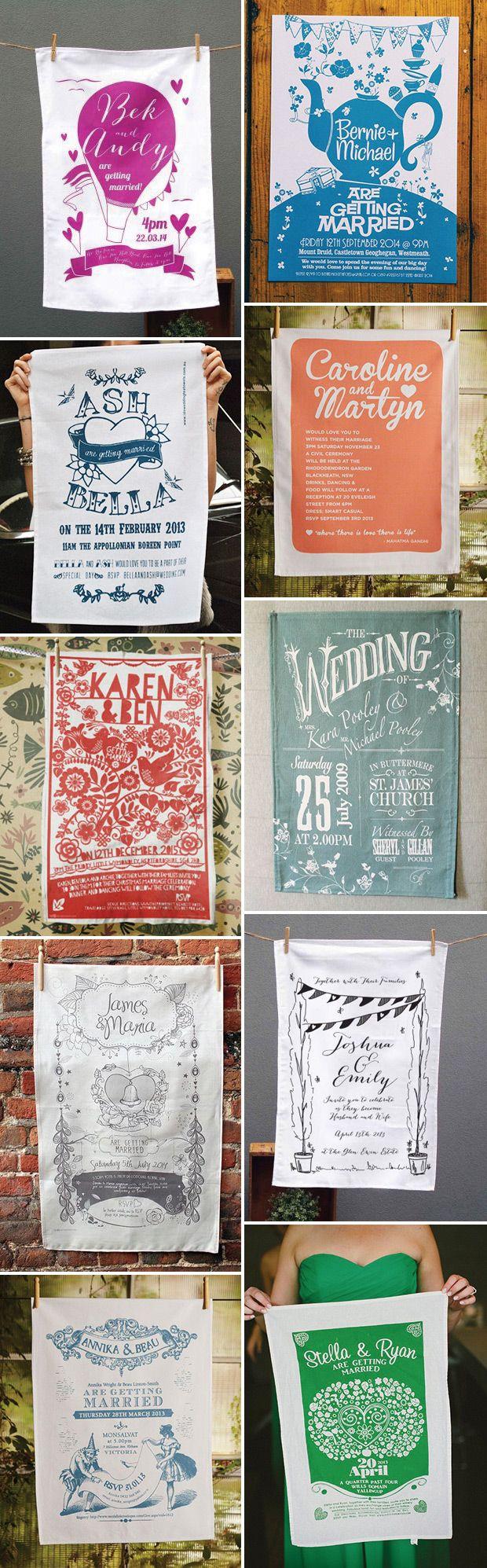 Wedding Invitation Ideas - Wedding Tea Towels - onefabday.com