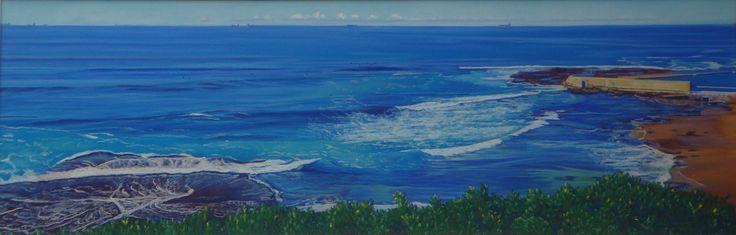 Cowrie Hole II, Newcastle, NSW by Carole Elliott Pastel on Sanded Paper #art #australianart #pastel #newcastle #seascape #ocean