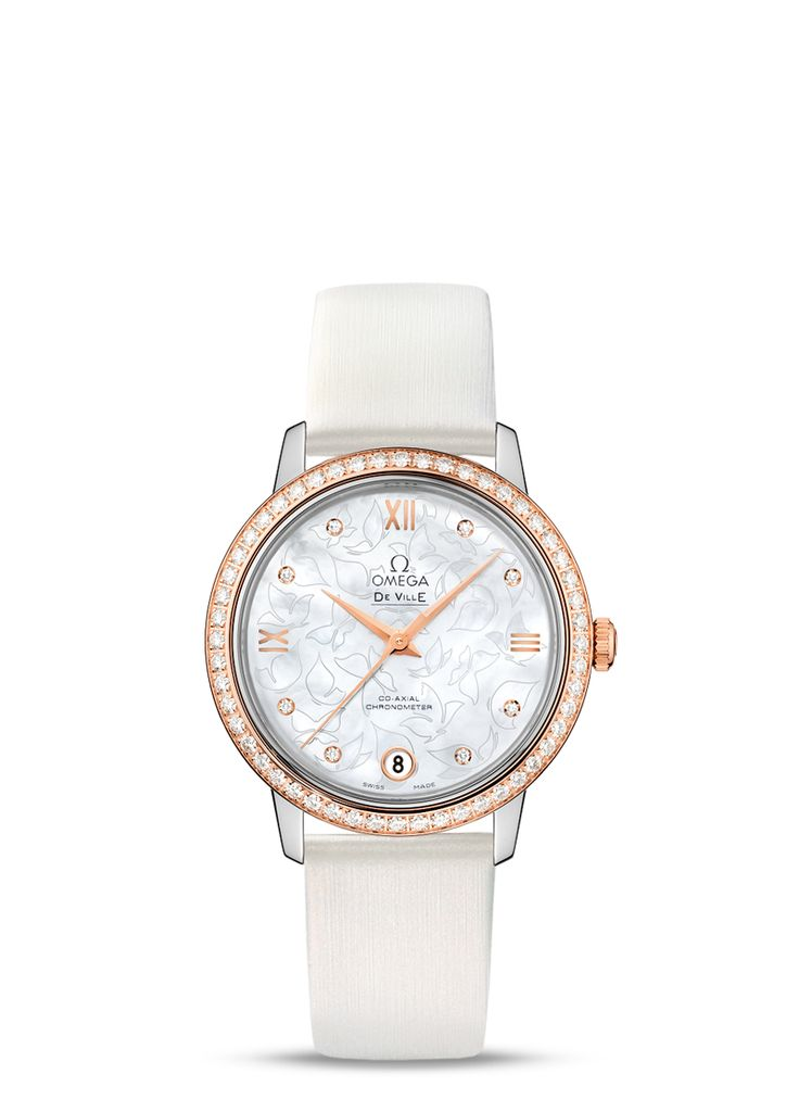 "With its captivating dial and graceful satin-brushed leather strap, the OMEGA De Ville Prestige ""Butterfly"" is a timepiece of true beauty that draws on the enchantment and aesthetics of nature.  This model features a white pearled mother-of-pearl dial with a unique polished butterfly pattern enhanced by a transferred outline against a matt background. There are eight diamond indexes and a date window at 6 o'clock."