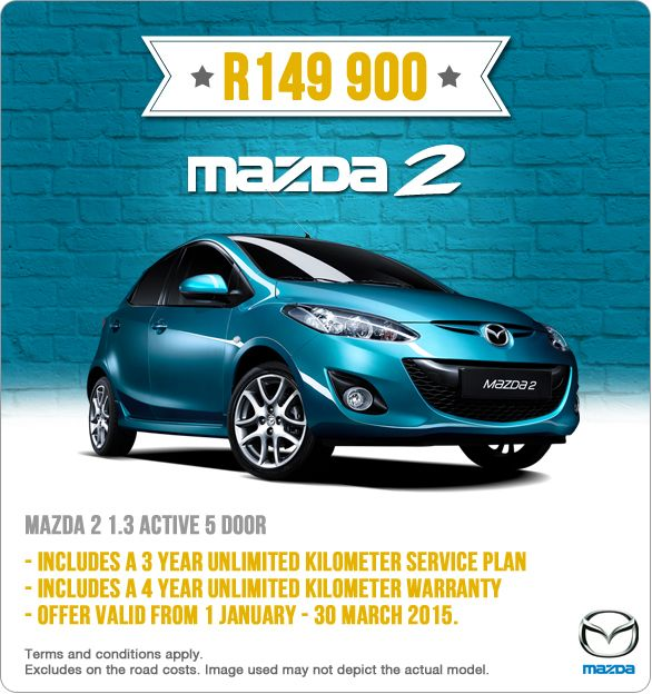 New Mazda 2 1.3 Active 5 Door for R149 900. Includes a 3 year unlimited kilometer Service Plan and a 4 year unlimited kilometer Warranty.   Image used may differ from actual model.