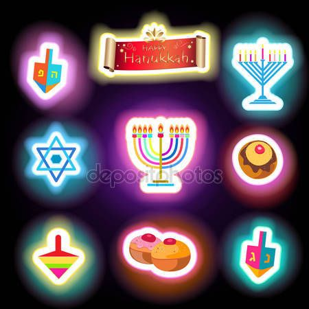 Happy Hanukkah Holiday traditional symbols menorah, donuts - traditional cookies, dreidel spinning top, candles fire flame, candelabrum, glowing abstract background, neon lights effect, Festival of lights Israel Jewish Holiday stickers illustration.