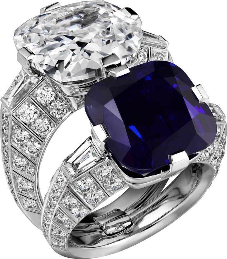 CARTIER. Ring - platinum, one 15.06-carat cushion-shaped sapphire from Kashmir, one 10.00-carat D IF type IIa cushion-shaped diamond, tapered diamonds, brilliant-cut diamonds. The two rings can be worn together or separately. #Cartier #CartierMagicien #Ha