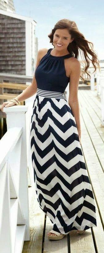 Sleeveless Neck Hold Chevron Maxi Dress