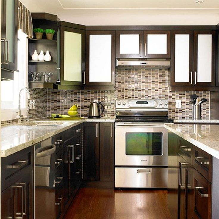 Astonishing Two Tone Kitchen Cabinets With Dark Brown Varnished Wooden Base Cabinet Also Metal Four Burner Stove And White Gray Marble Counter Top , Two Tone Kitchen Cabinets: Kitchen