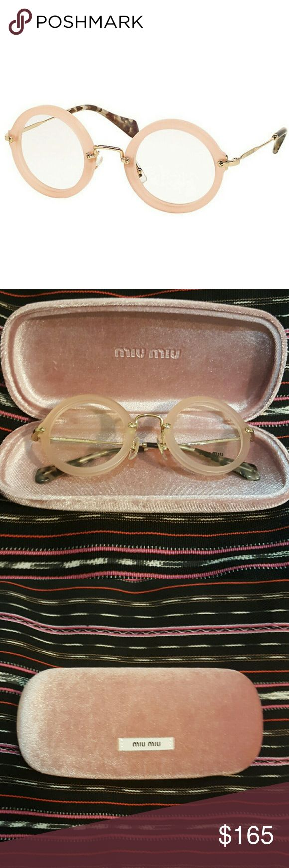 New Authentic Miu Miu MU 06NV Optical Glasses BRAND NEW Sand Opal Miu Miu by Prada Eyeglasses  These are for prescription but you can also buy sunglass lenses for them Includes box, case, eyeglasses cleaning cloth  Color: Pink/Gold/Tortoiseshell   Please ask questions if interested,  thank you!  :^) Miu Miu Accessories Glasses