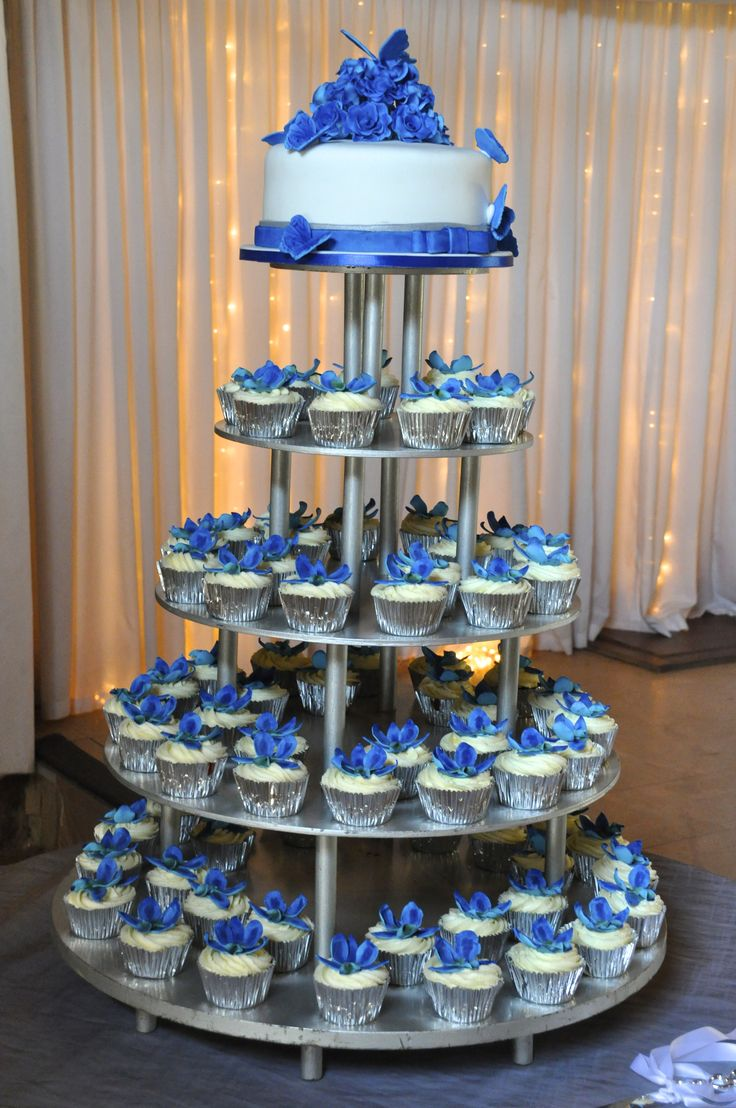 Blue Orchid Wedding Cupcake Tower And Cutting Cake