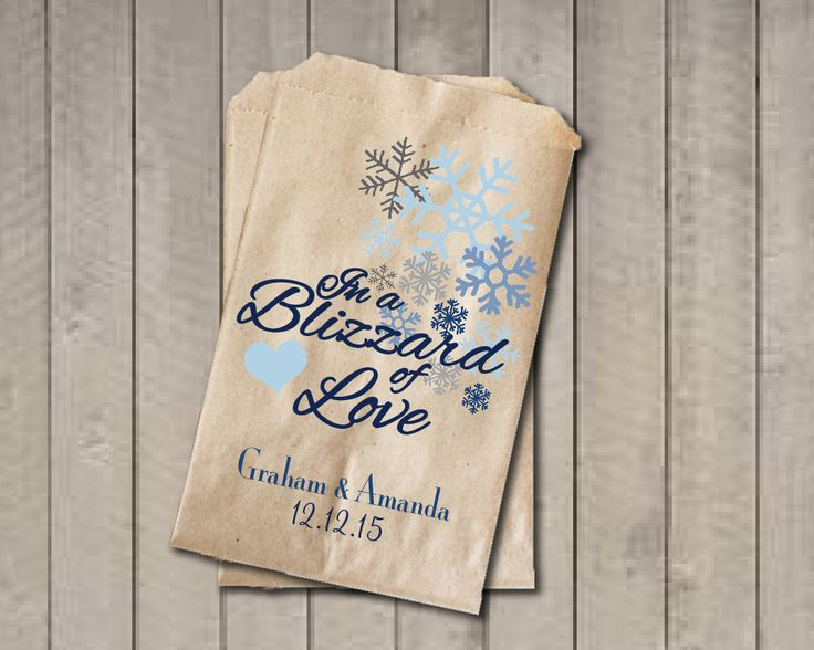 Winter Wedding Favor Bags, Snowflake Favor Bags, Personalized Wedding Candy Bags, Winter Wedding Candy Buffet Bags - In a Blizzard of Love