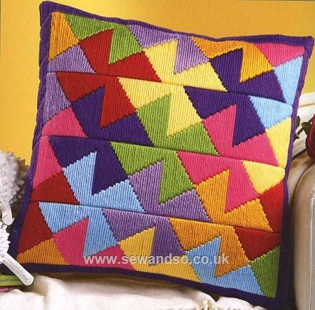 Buy Pinwheel Long Stitch Cushion Front online at sewandso.co.uk