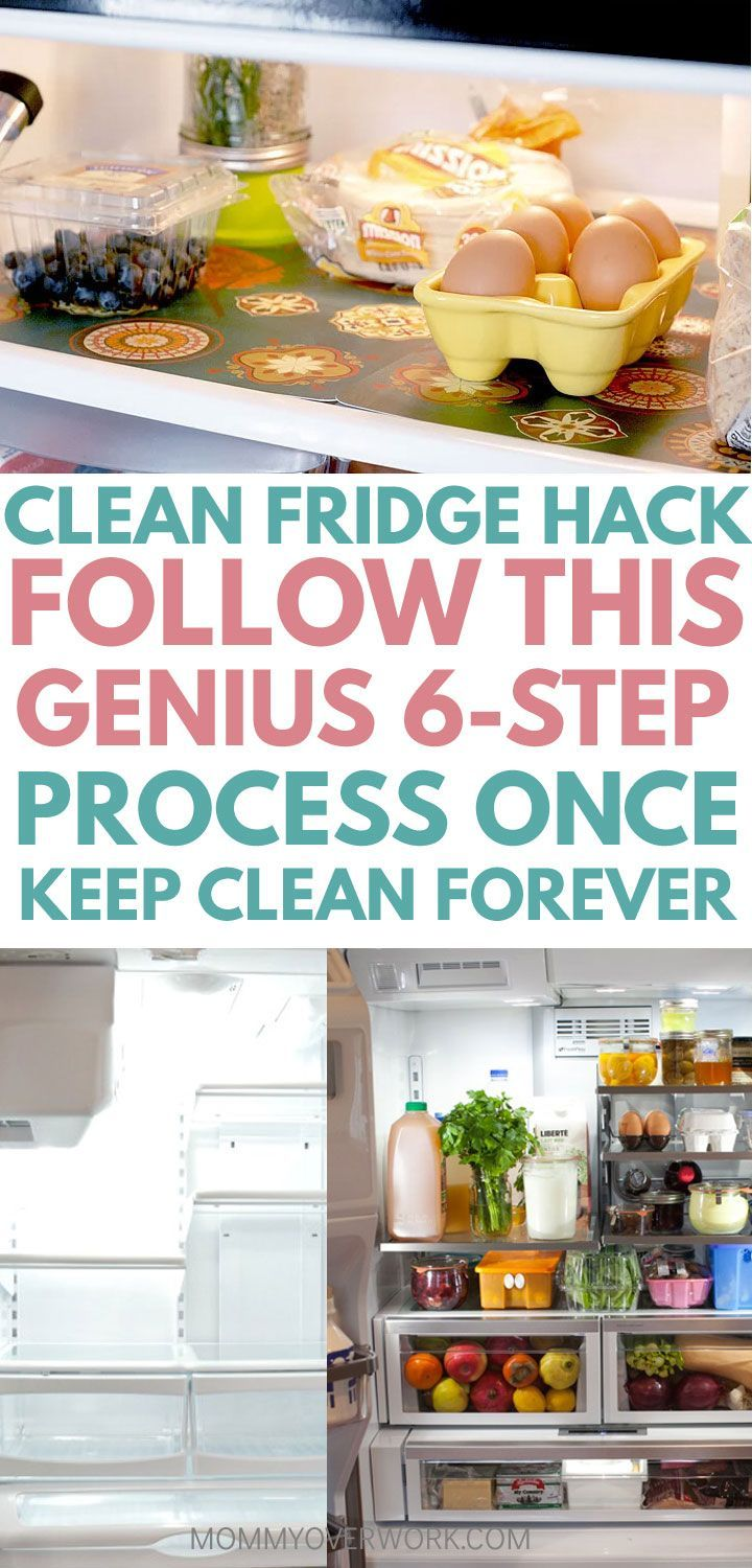 Hacks, ideas to organize, DEEP CLEAN FRIDGE. Simple DIY cleaning solution from vinegar, baking soda. Do mini cleanse to get rid of bad smells & odor. Tips to optimize refrigerator organization with shelf liners / kitchen placemats. See chart with proper storage of fruits, veggies, milk to keep everything neat and organized so next time not as long to clean. #cleaning #cleaningtips #homemaking #homemakingtips #cleaningtips #cleaninghacks #refrigerator #cleaningtricks #cleaning #springcleaning