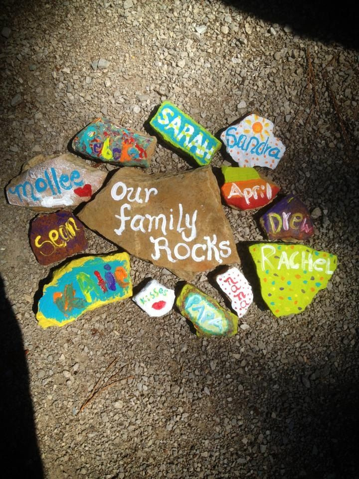 Camping Fun!....Our Family Rocks! ...Everyone found a rock and painted their names on them!