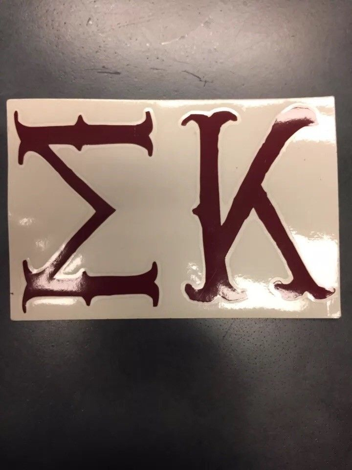 "3""x4"" Sigma Kappa Greek Decal Sticker Maroon 