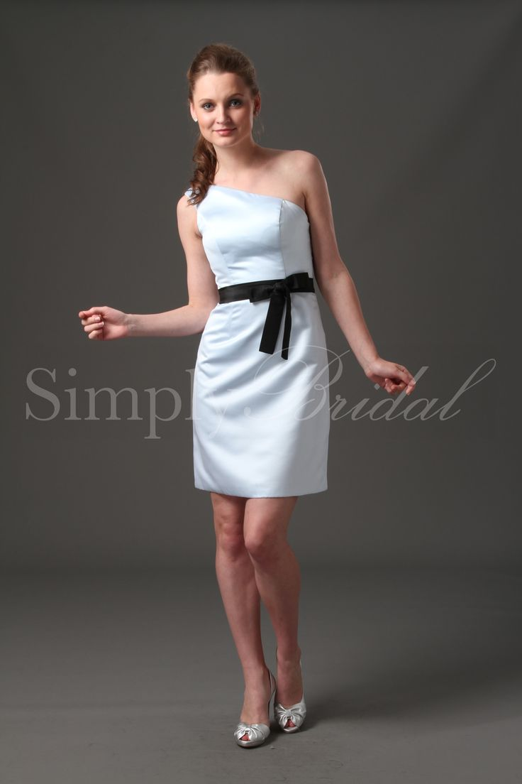 One-Shoulder Satin/Taffeta Dress with Sash #wedding #bridesmaid #dress #satin #taffeta