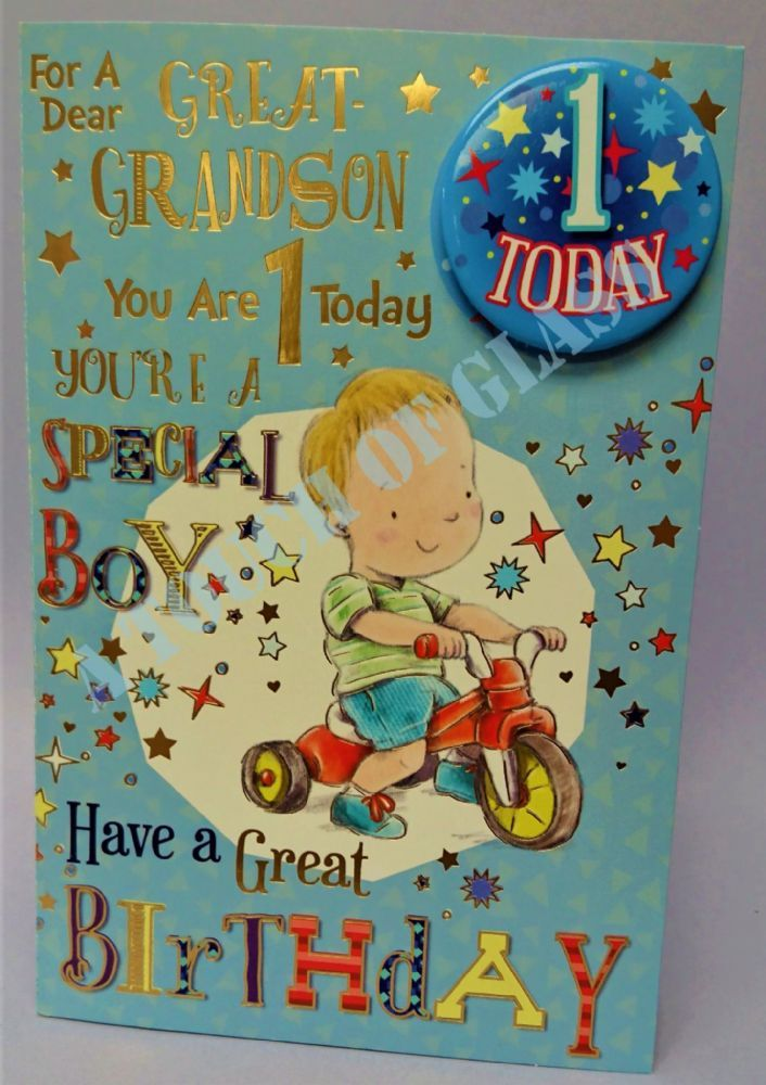 Great Grandson 1st Birthday Badge Card Candy Club Greetings Cards 1st Birthday Cards Vintage Birthday Cards Birthday Badge