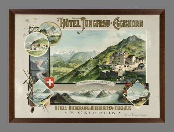 Hôtel Jungfrau à Eggishorn, Rieder-Alpe (by Zimmermann Maurice / 1894) Destroyed by fire (due to the owner initiative) in 1972, this luxury hotel a the foot of the Eggishorn, used to be (since 1856) a peer-referred destination for English people and those who aimed to climb the Eggishorn.