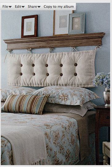 awesome diy headboard..like the shelf above but maybe replace the cushion with something else, wood?