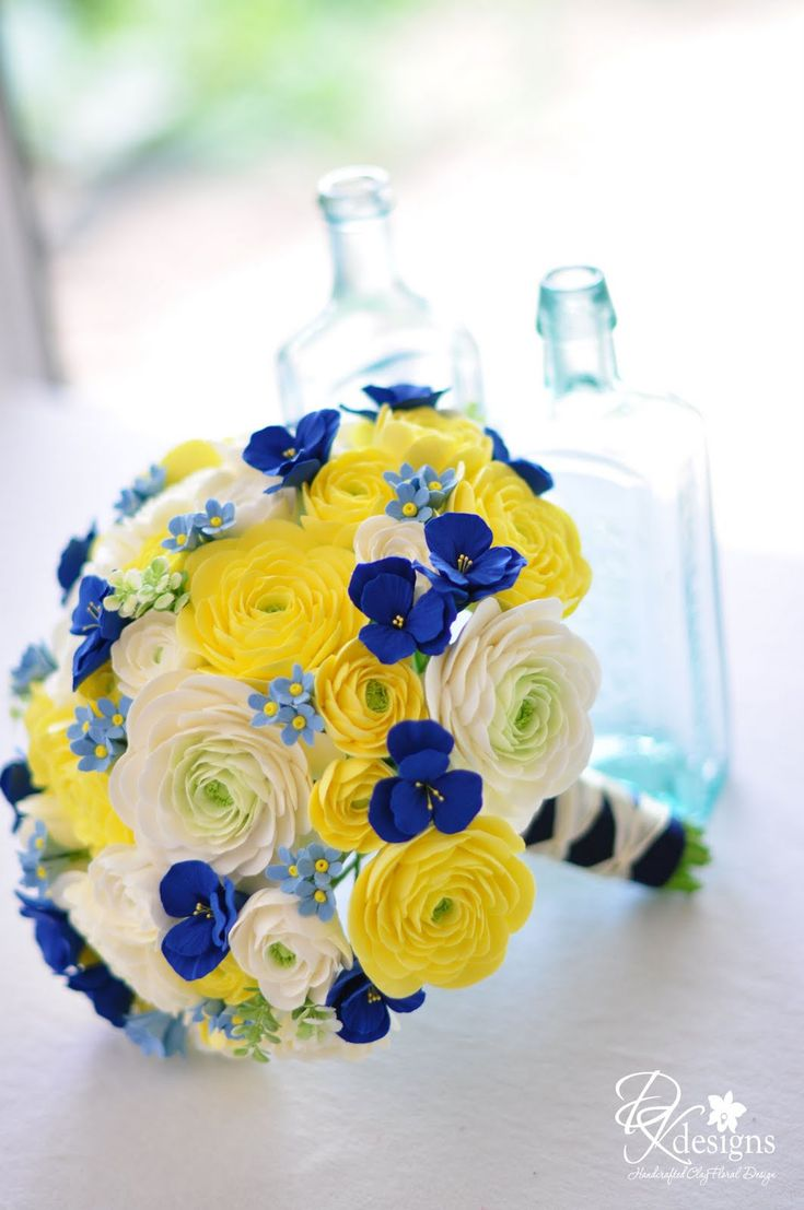 Royal Blue And Yellow Bridals Bouquet And Groom Dk