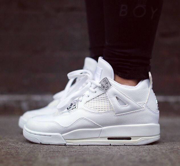 premium selection 6b642 5681b All white jordans. Clean, fresh and can be worn with almost anything! LOVE. Pure  money AJ4.   Like mike I wanna be like mike (jordans)   Sneakers, ...