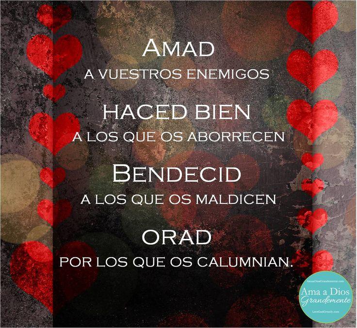 Amad a vuestros enemigos, haced bien a los que os aborrecen, bendecid a los que os maldicen y orad por los que os calumnian... :) !!!