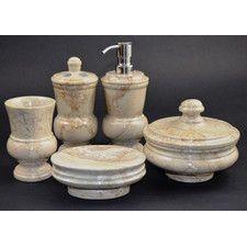 Mediterranean 5 Piece Sahara Beige Marble Bathroom Accessory Set