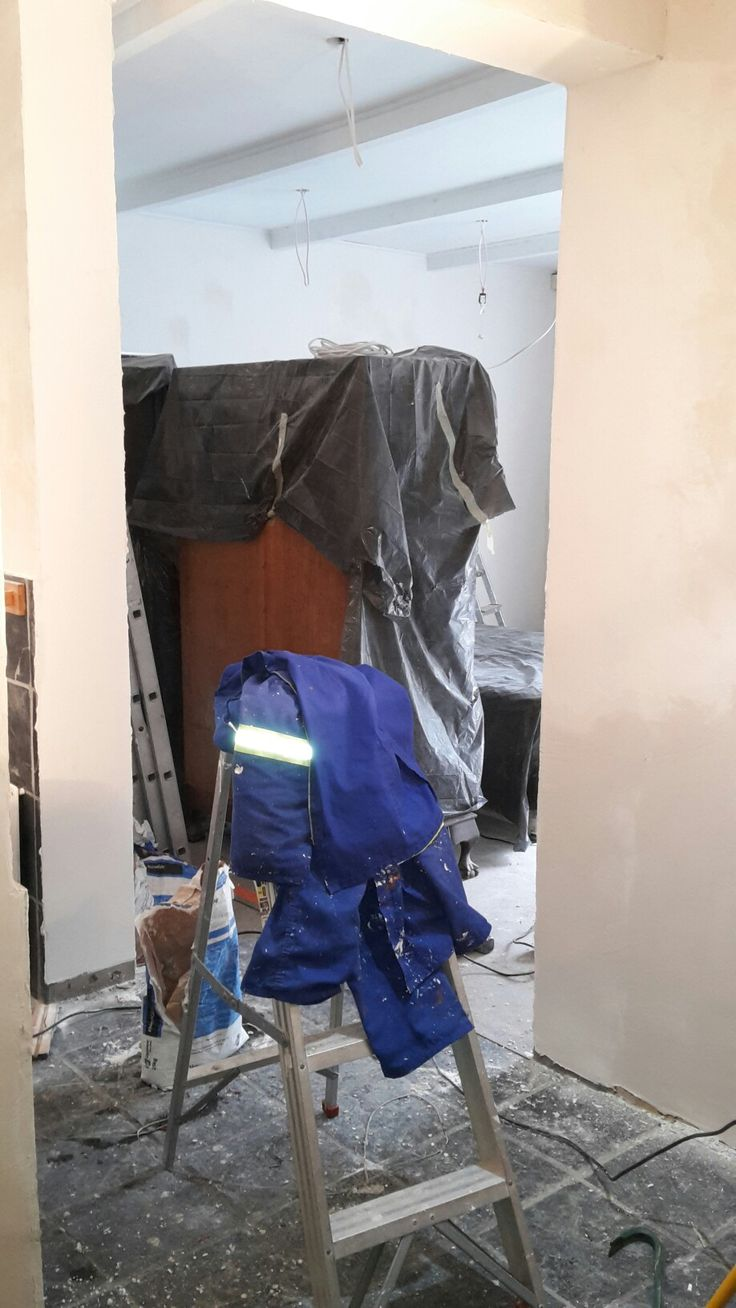 Our Bedroom Make-Over  Day 5 Almost all walls in bedroom and bathroom have been smoothed with Rhinoglide