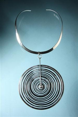 Necklace  Silver Moon. Designed by Tapio Wirkkala for Nils Westerberg, Finland. 1970's.  Rare large version.  Sterling silver.  D: 11 cm/ 4 1/4''