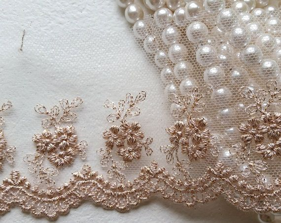 """3.5"""" Rose Gold Vintage Lace Trim, Embroidered Gauze Lace, Lovely Floral Embroidery Tulle Fabric for wedding bridal dress, lingerie, clothing"""