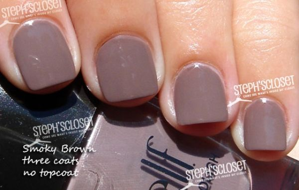 ELF Smoky Brown Nail Polish, Takes a few coats but when you do it, it comes out beautiful