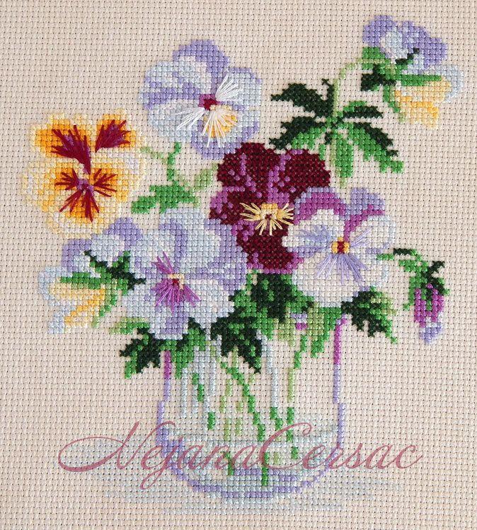 Kanaviçe hercai çiçek mini tablo