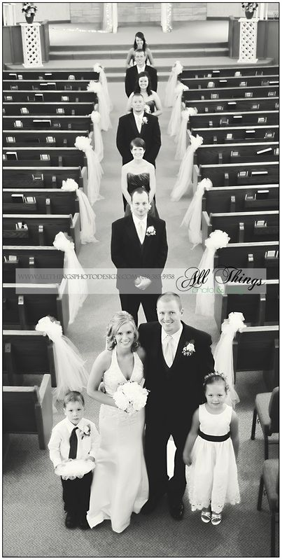 Such a unique angle for the wedding party photo! SO COOL. Could take the picture from the balcony at church!