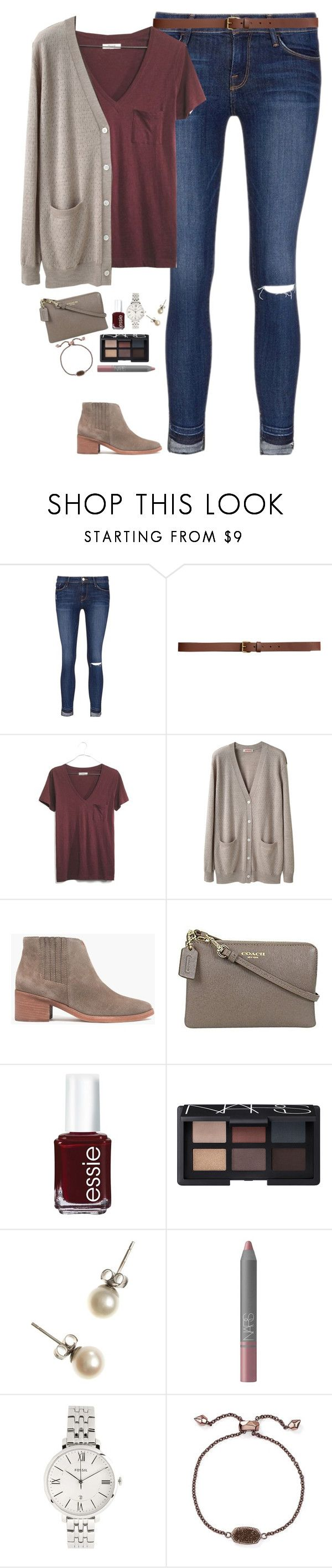 """V-neck tee, cardigan & ankle boots"" by steffiestaffie ❤ liked on Polyvore featuring Frame, H&M, Madewell, Organic by John Patrick, Coach, Essie, NARS Cosmetics, J.Crew, FOSSIL and Kendra Scott"
